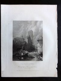 After Balmer 1834 Antique Print. St. Lawrence Cathedral, Rotterdam, Netherlands